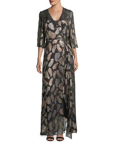Fil Coupe Desert Leaf Wrap Dress