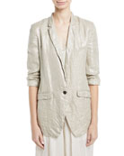 Linen Laminated One-Button Jacket