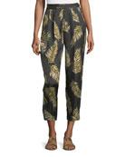 Desert Leaf-Print Satin Pants