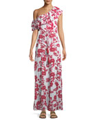 Amity One-Shoulder Floral-Print Maxi Dress