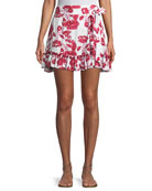 Alicia Tie-Side Floral-Print A-Line Skirt