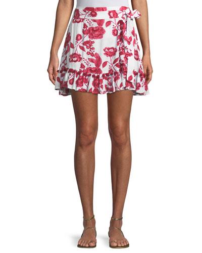Alicia Tie-Side Floral-Print A-Line Skirt