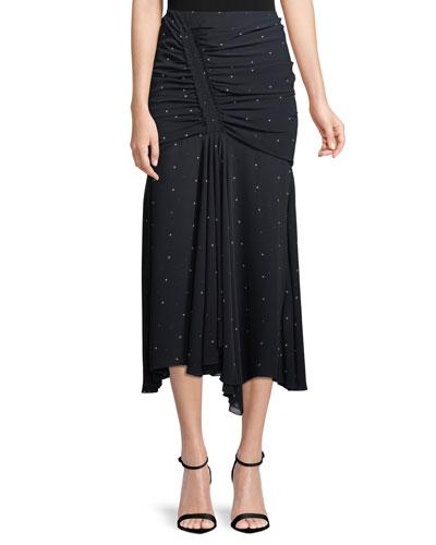 Scarlett Dot-Print Ruched Skirt
