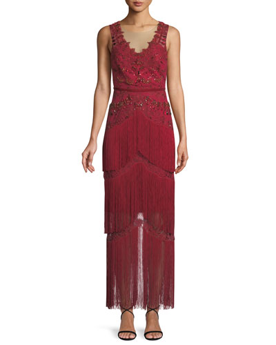 All Over Beaded Sleeveless Fringe Long Dress