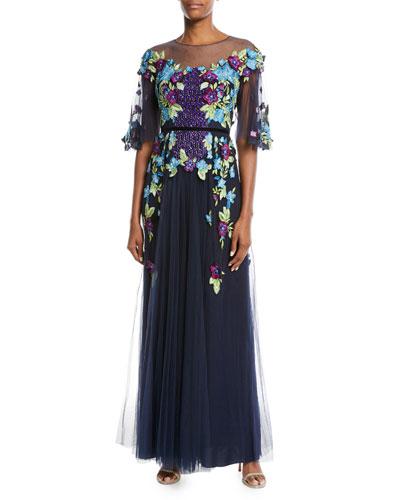 Allover Beaded Gown w/ Tulle Skirt