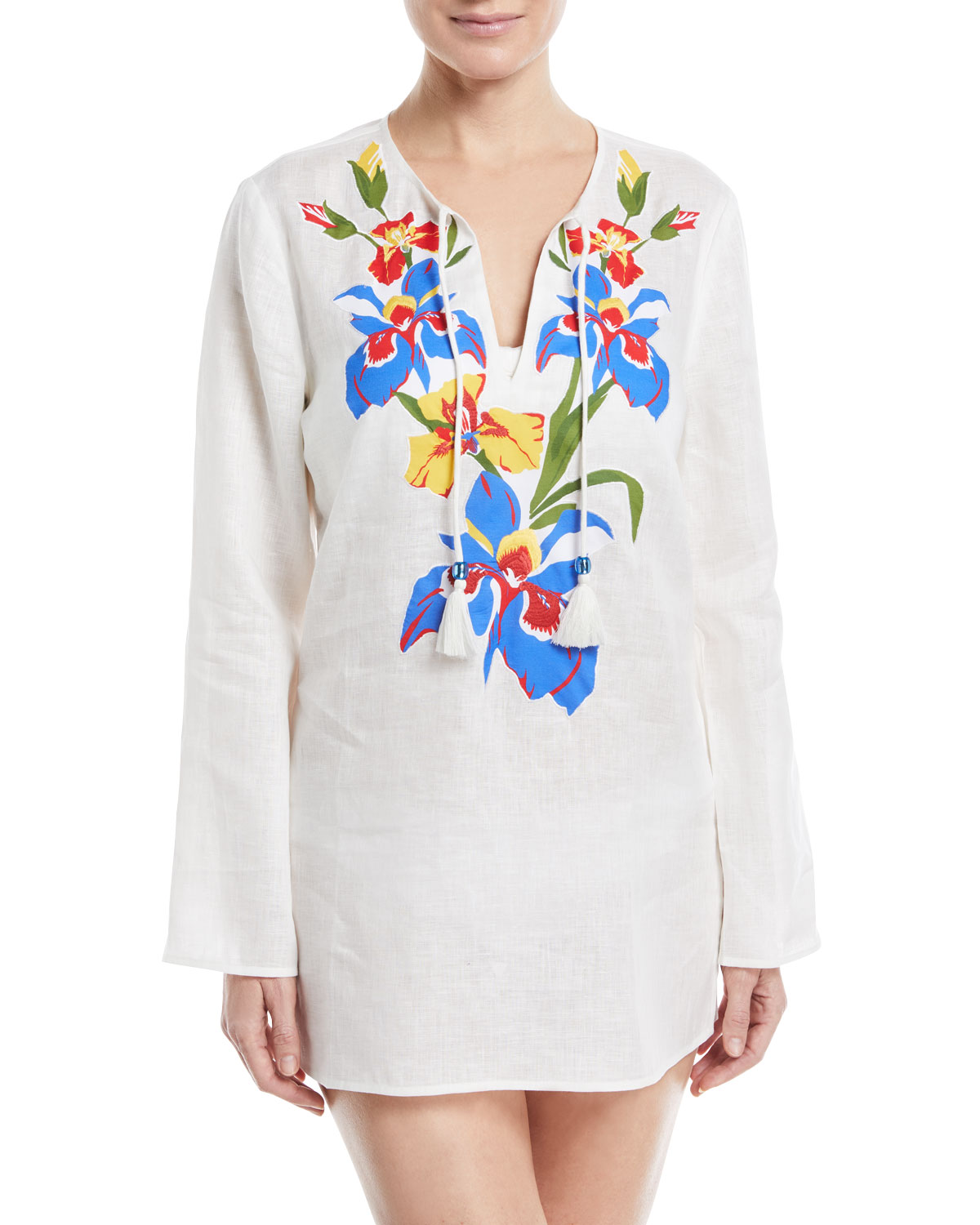 Split-Neck Long-Sleeve Linen Coverup Tunic w/ Floral-Embroidery