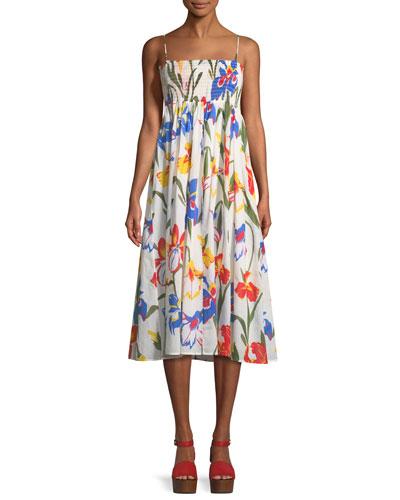 Painted Iris Floral-Print Sleeveless Midi Coverup Sun Dress