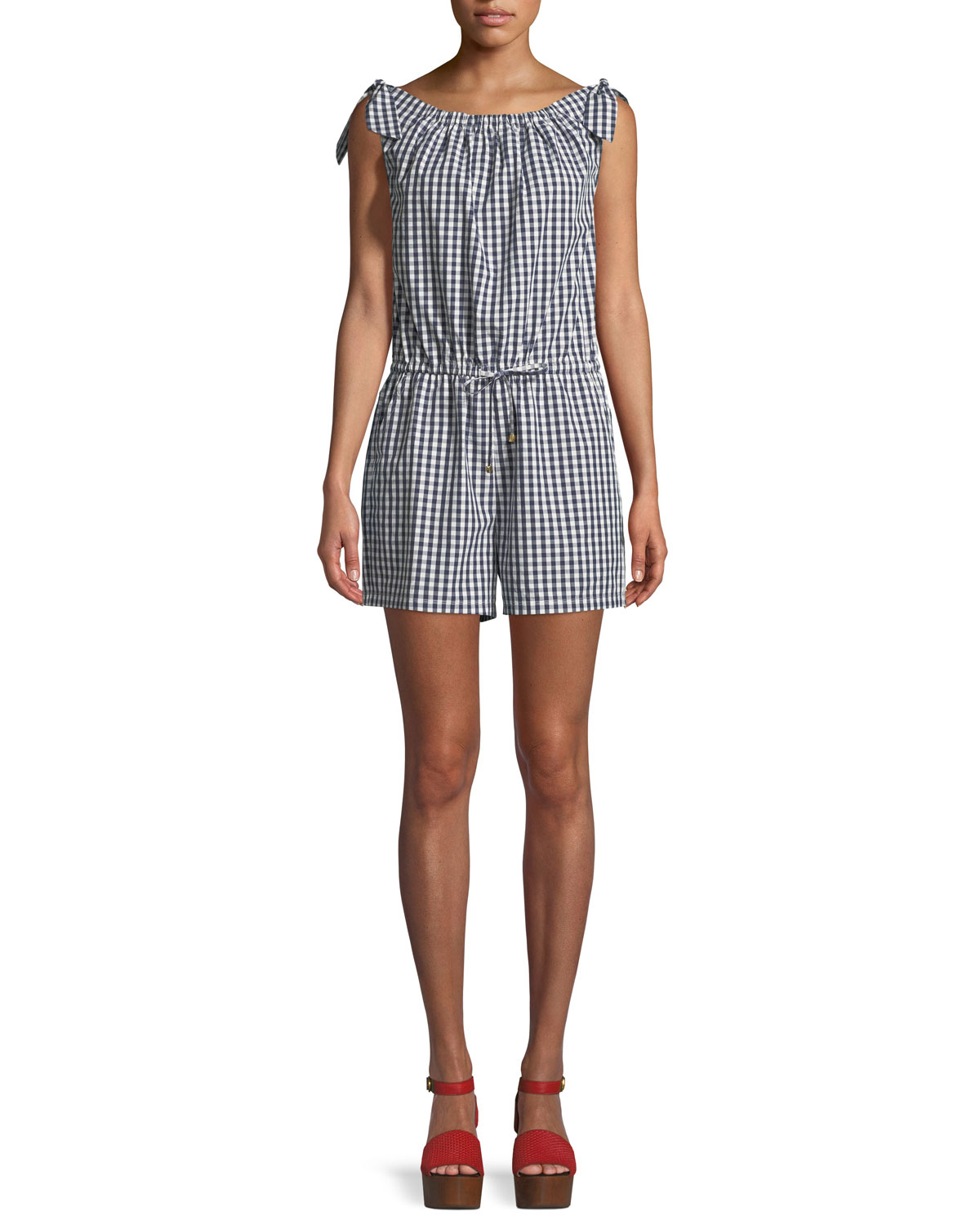 Round-Neck Sleeveless Gingham Coverup Romper