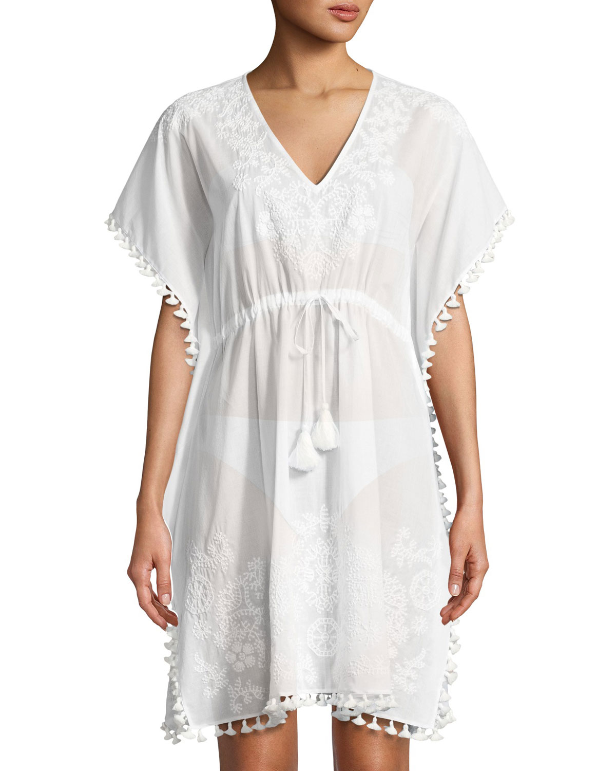 V-Neck Embroidered Caftan Coverup