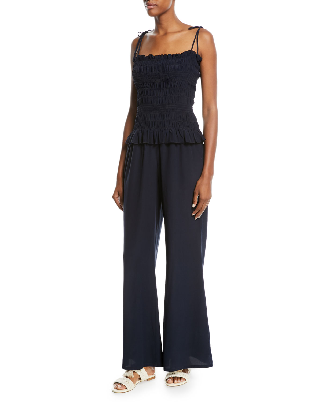 Cone Sizeta Smocked Wide-Leg Silk Coverup Jumpsuit