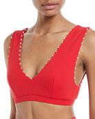 French Gramercy V-Neck Textured Swim Top