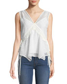 Derek Lam 10 Crosby Sleeveless V-Neck Lace-Guipure Top