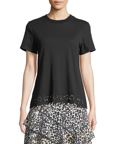 Short-Sleeve Crossover-Back Cotton Tee w/ Eyelet Embroidery