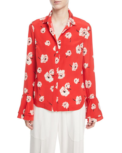Long-Sleeve Button-Front Floral-Print Silk Shirt w/ Ruffle Cuff