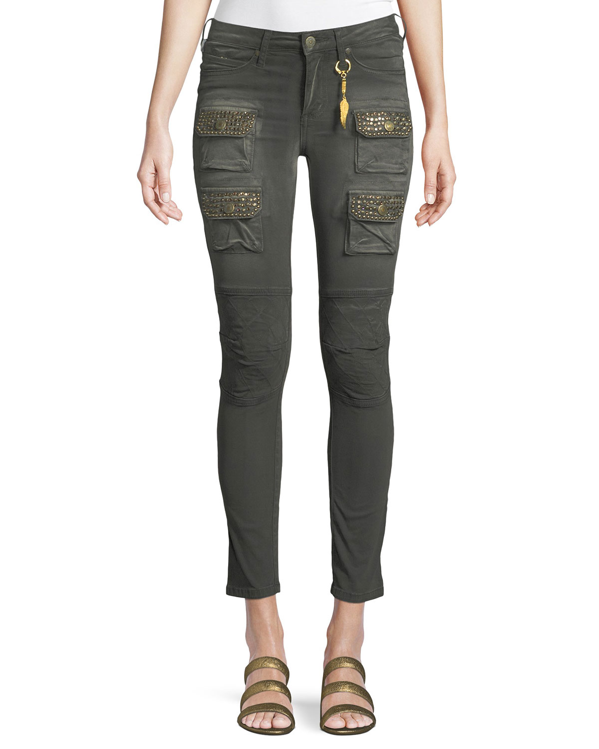 Racer Cargo Skinny Pants with Studs