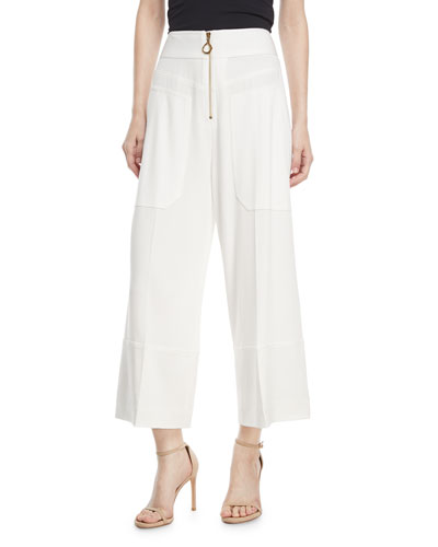 Wide-Leg Cropped Crepe Pants