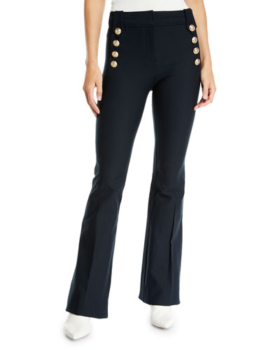 Crosby Crop Flare Trouser With Sailor Buttons, White from Derek Lam