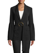 Shawl-Collar One-Button Crepe Blazer with Belt