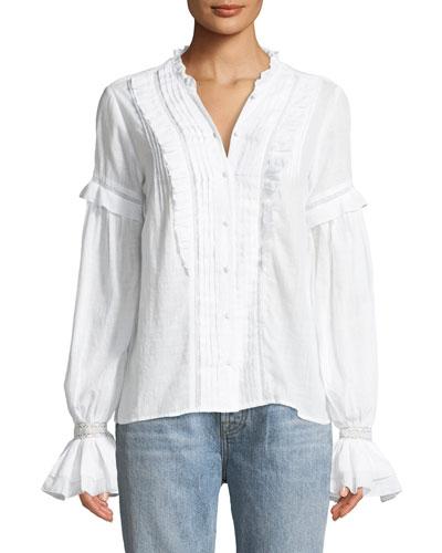 Alonza Long-Sleeve Ruffled Cotton Blouse with Ruffled Trim