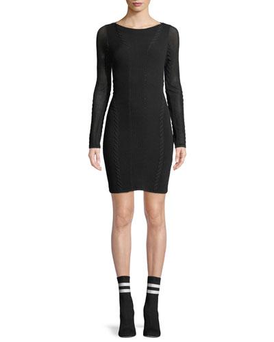 Brandy Long-Sleeve Mesh Paneled Mini Dress