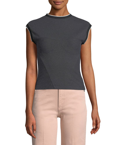 Watts High-Neck Sleeveless Engineered Top