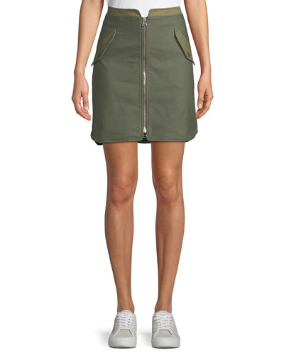 Maverick Zip-Front Cotton Skirt