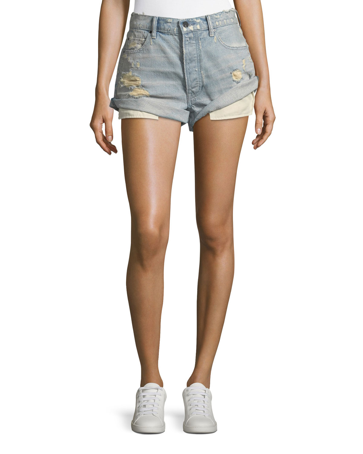 Hike Rolled Distressed Denim Shorts