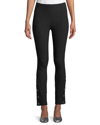 Simone High-Rise Slim Snap Pants