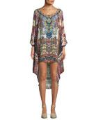 Scoop-Neck Embellished Coverup Dress