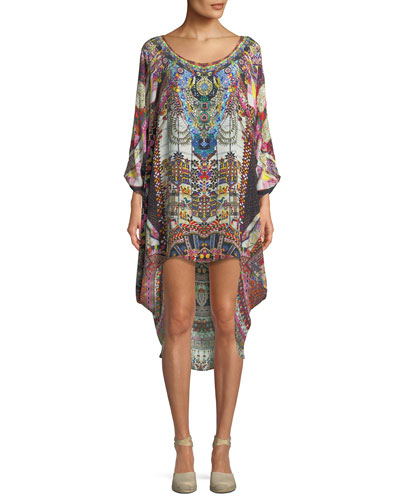 Scoop-Neck Embellished Coverup Dress
