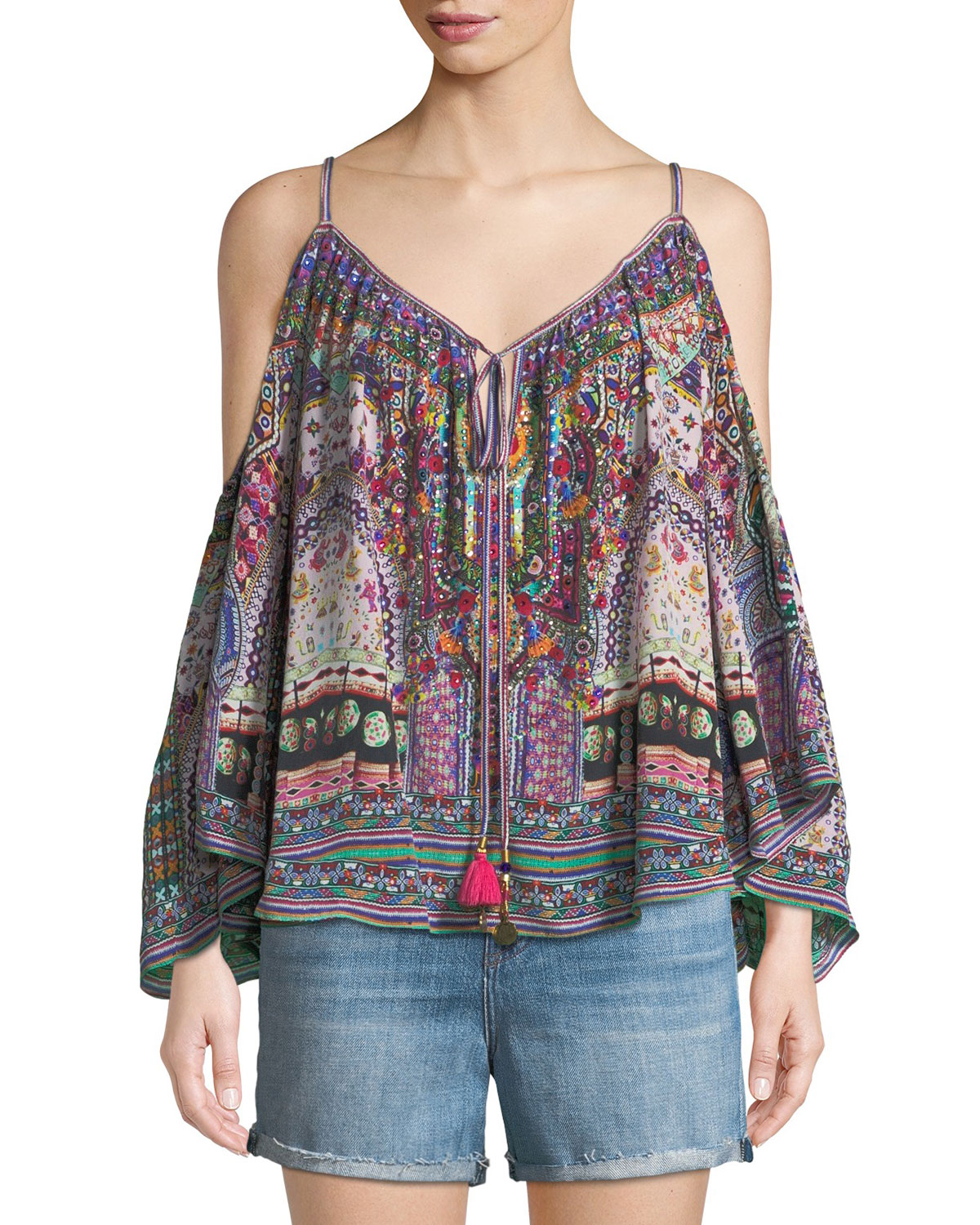 Long-Sleeve Cold-Shoulder Printed Silk Blouse