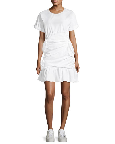 Cassian Crewneck Short-Sleeve Gathered Tie Dress