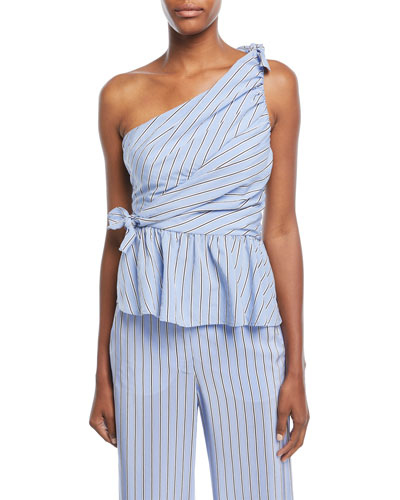 8e360b8bd3b A.L.C Soraya One-Shoulder Gathered Striped Top, Light Blue ...