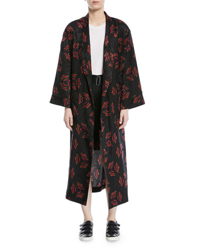 York Printed Silk Robe Jacket