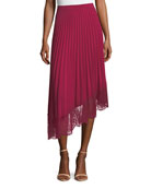 Claude A-Line Pleated Skirt with Lace Hem