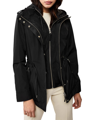 Meltiar Hooded Rain Jacket w/ Covered Placket