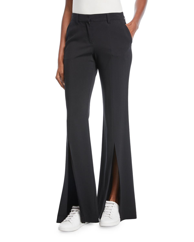 Capen Flared-Leg Split-Hem Pants
