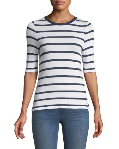 Crewneck Short-Sleeve Twist-Back Striped Tee