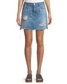Celine A-Line Distressed Denim Skirt