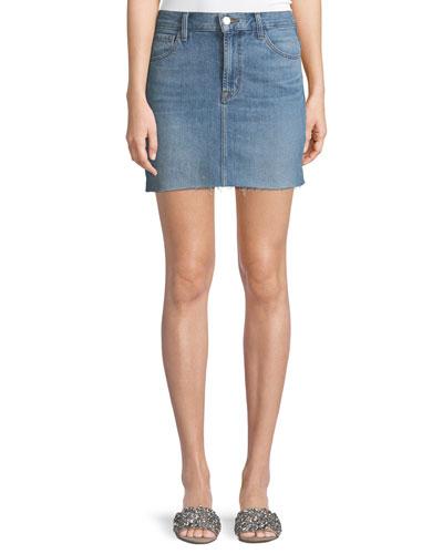 Bonny Mid-Rise A-Line Mini Denim Skirt