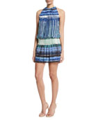 Paris Warp-Print Sleeveless Blouson Dress