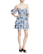 Irene Ruffled Cotton Mini Dress