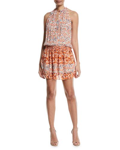 Mackinley Sleeveless Floral-Print Silk Dress