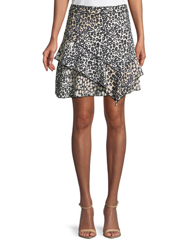 Mixed-Print Ruffled Mini Skirt