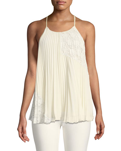 Pleated Camisole Blouse with Lace