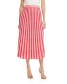 A-Line Pleated Striped Knit Midi Skirt
