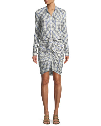 Della Plaid Tie Front Dress