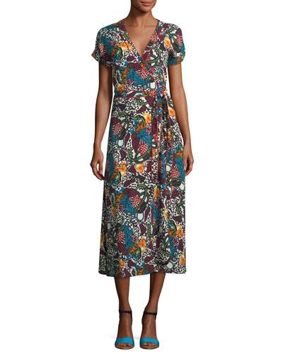 Serena V-Neck Printed Wrap Dress
