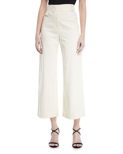 Cayman High-Waist Wide-Leg Cropped Cotton Pants