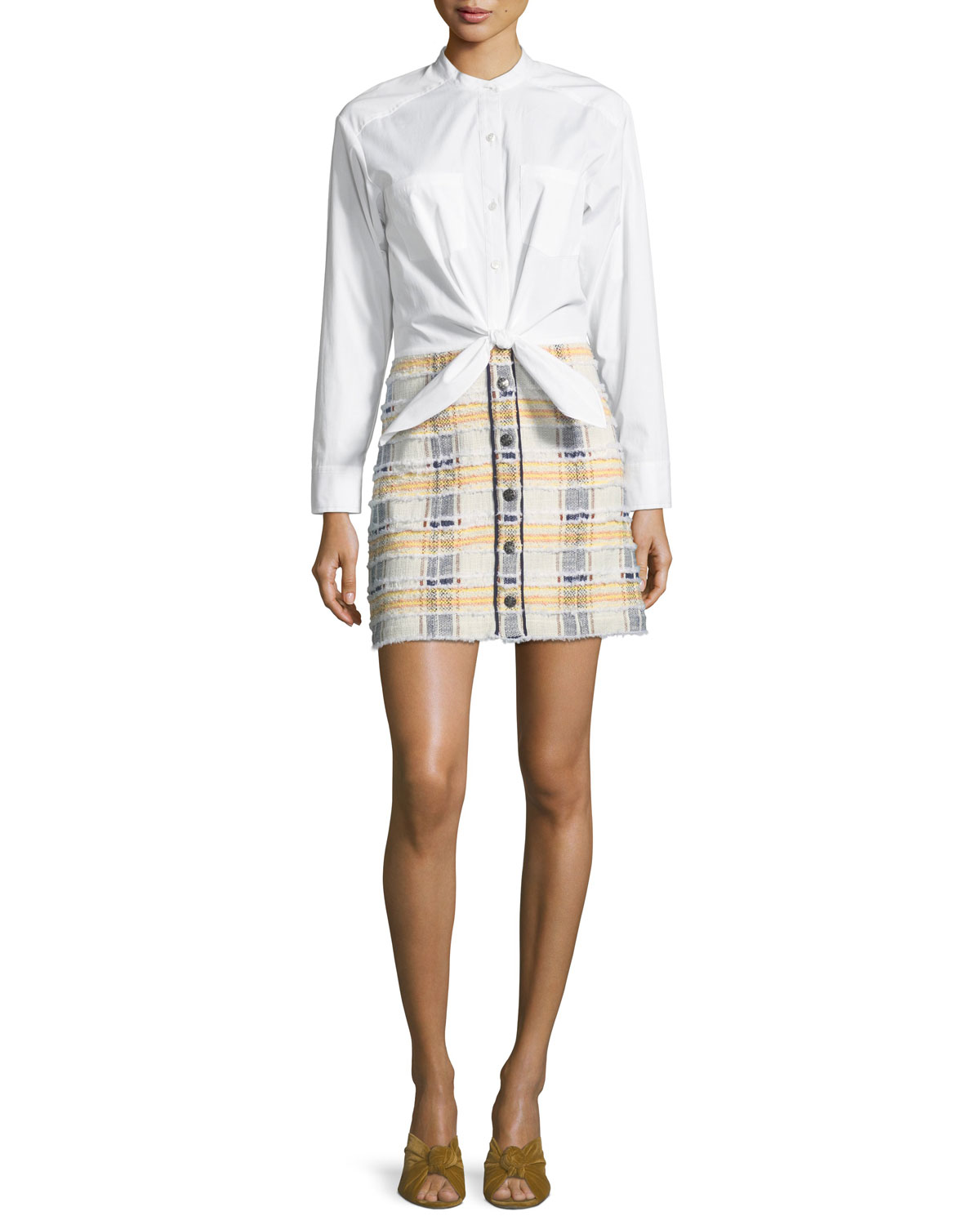 Aurelia Long-Sleeve Combo Dress with Poplin Shirt & Tweed Skirt